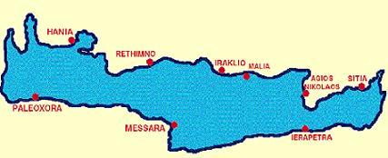 Map of Crete Island